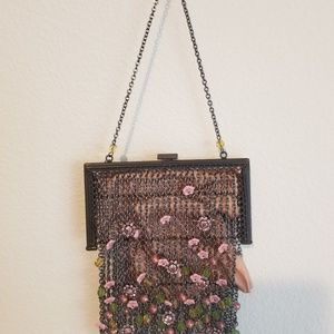 Gloria Astolfo metallic chain and beaded purse